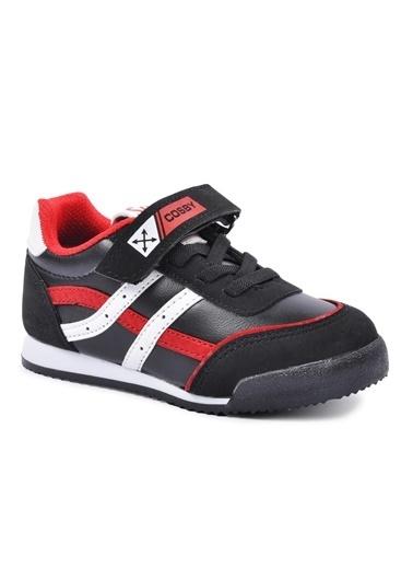 Cosby 3552 Beyaz-Kırmızı-Mavi Çocuk Spor Ayakkabı Siyah